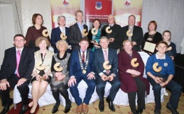 Award winners at the Galway County Council Cathaoirleach's Community Awards 2015 in the Claregalway Hotel on Thursday night. ( Standing l-r) Cllr Ann Rabitte, Brendán Ó Loinsigh, Tom Touhy, Sheila Griffin, John Grealy, Fr Ray Flaherty, Cathy O'Halloran and Sinead O'Halloran . ( Seated l-r) Kevin Kelly, Clodagh Barry, Joan Kavanagh, Cllr Peter Roche, Seamus Duffy, Máire Áine Mhic Dhonnacha and Noah Dobell. Photo:-Mike Shaughnessy / No Fee . Issued on behalf of Galway County Council