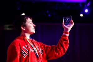 Repro Free: 30/10/2019 Adam Ó'Cuinneagáin from Colaiste an Eachreidh Athenry Co Galway was named ESB TechSpacer of the Year at the ESB Creative Tech Fest event in the Convention Centre Dublin. Over 500 young people from youth groups across Ireland showcased their STEAM and Digital Creativity projects at the bilingual event. TechSpace is a STEAM and Digital Creativity-based educational programme that helps young people develop key 21stcentury skills in areas such as creativity, collaboration, critical thinking. The programme empowers them to be active creators, not passive users, of technology. Picture Andres Poveda
