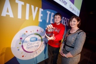 Repro Free: 30/10/2019 Adam Ó'Cuinneagáin from Colaiste an Eachreidh Athenry Co Galway was named ESB TechSpacer of the Year at the ESB Creative Tech Fest event in the Convention Centre Dublin pictured with Marguerite Sayers was appointed Executive Director, Customer Solutions. Over 500 young people from youth groups across Ireland showcased their STEAM and Digital Creativity projects at the bilingual event. TechSpace is a STEAM and Digital Creativity-based educational programme that helps young people develop key 21stcentury skills in areas such as creativity, collaboration, critical thinking. The programme empowers them to be active creators, not passive users, of technology. Picture Andres Poveda